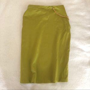 Roberto Cavalli vintage lime green silk skirt